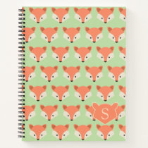 Cute Fox Pattern on Green Monogram Notebook