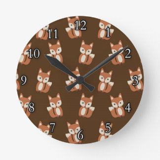 Cute Fox Pattern Round Clock