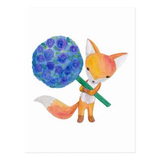 Cute Fox postcard Red Fox with Flowers Art Card