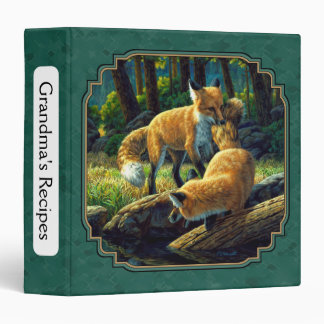 Cute Fox Pups Playing Forest Green Binder