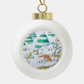 cute fox & rabbits with hats, scarves in the snow ornament