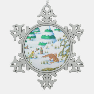 cute fox & rabbits with hats, scarves in the snow snowflake pewter christmas ornament