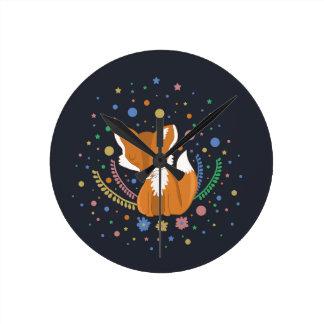 Cute Fox Round Clock