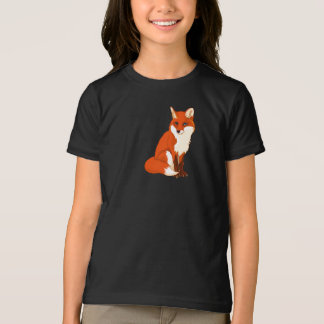 Cute Fox Sitting Girls T-Shirt