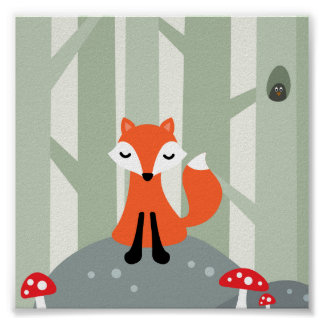 Cute fox sitting on a rock in the forest poster