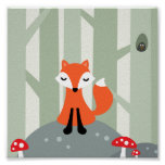 Cute fox sitting on a rock in the forest print