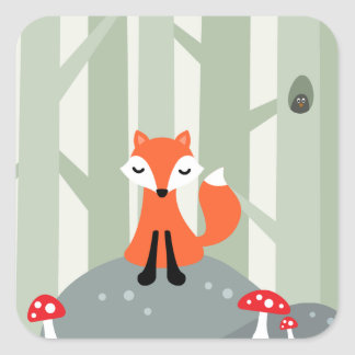 Cute fox sitting on a rock in the forest square stickers