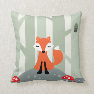 Cute fox sitting on a rock in the forest throw pillow