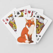 Cute Fox Sitting Playing Cards