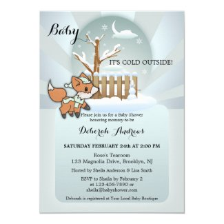 Cute Fox Snow Winter Baby Shower Invitation