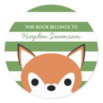 Cute Fox | This Book Belongs To Classic Round Sticker