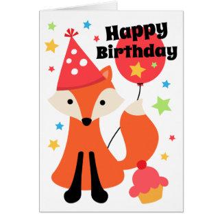 Cute fox with balloon cupcake star happy birthday card