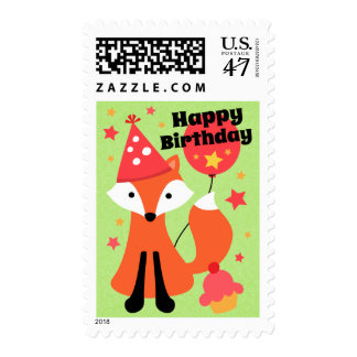 Cute fox with balloon cupcake star happy birthday postage stamp