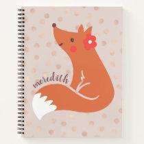 Cute Fox With Flower/Blush Confetti Background Notebook