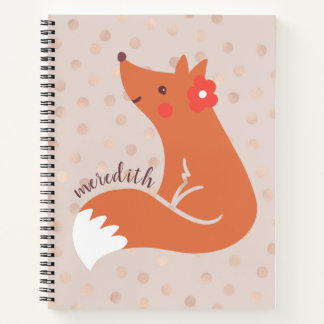 Cute Fox With Flower/Blush Confetti Background Notebook