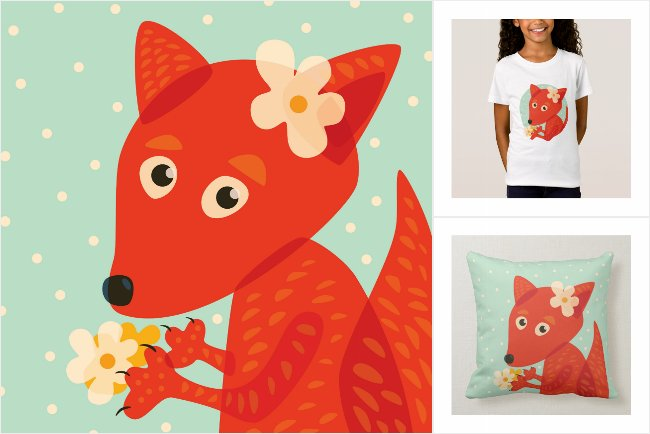 Cute fox with flowers Zazzle collection
