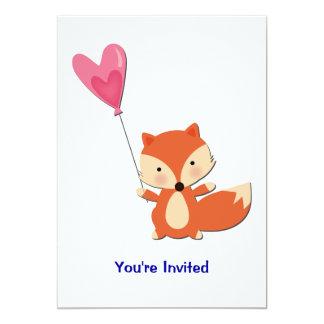 Cute Fox with Heart Balloon Card