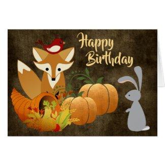 Cute Fox Woodland Animals Golden Autumn Birthday Card
