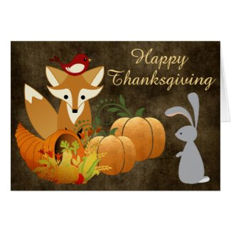 Cute Fox Woodland Animals Golden Thanksgiving Card