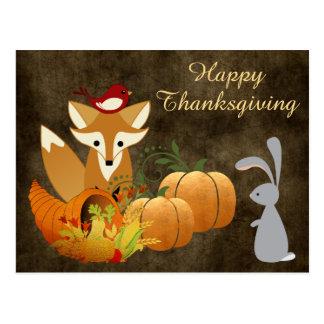 Cute Fox Woodland Animals Golden Thanksgiving Postcard