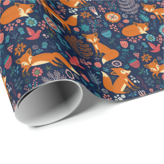 Cute Foxes Birds & Flowers Pattern Wrapping Paper