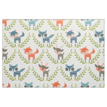 Cute Foxes & Deer With Green Wreath Pattern Fabric
