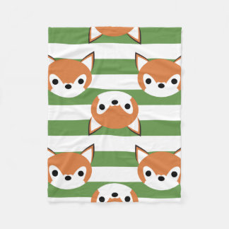 Cute Foxes & Green Stripes Fleece Blanket