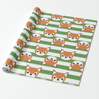 Cute Foxes & Green Stripes Wrapping Paper