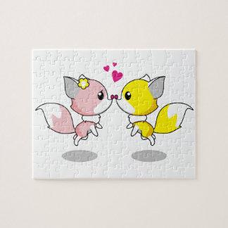 Cute foxes in love cartoon girls jigsaw puzzle