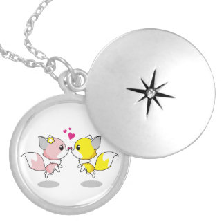 Cute foxes in love cartoon girls silver plated necklace