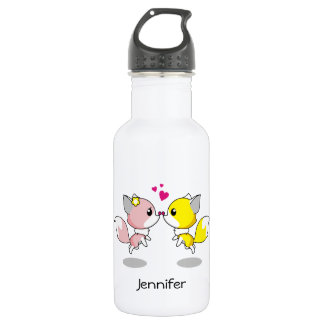 Cute foxes in love cartoon  name girls stainless steel water bottle