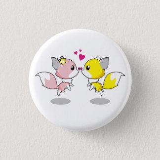 Cute foxes in love cartoon pinback button
