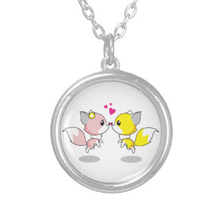 Cute foxes in love cartoon silver plated necklace