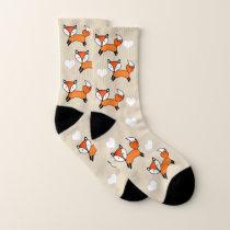 Cute Foxes & White Hearts Socks