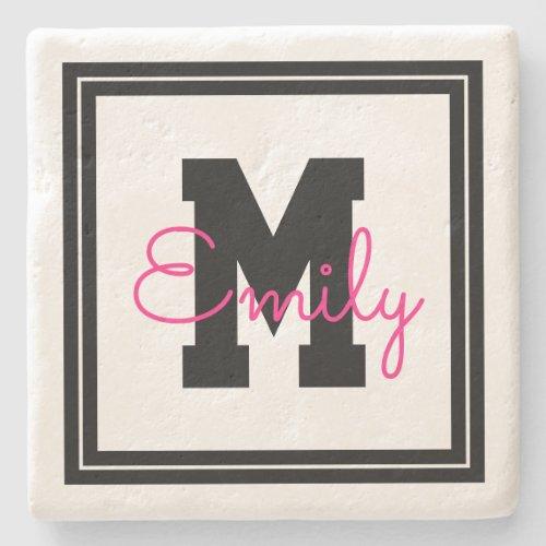 Cute Framed Name  Monogram  Black  Hot Pink Stone Coaster