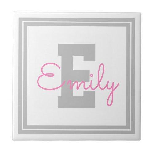Cute Framed Name  Monogram  Light Grey  Pink Ceramic Tile