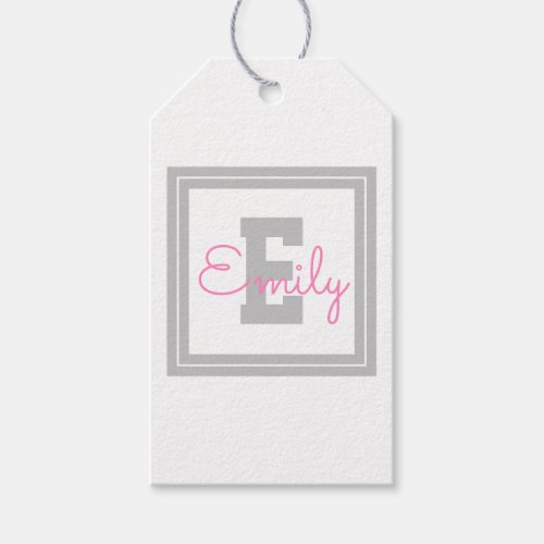 Cute Framed Name  Monogram  Light Grey  Pink Gift Tags