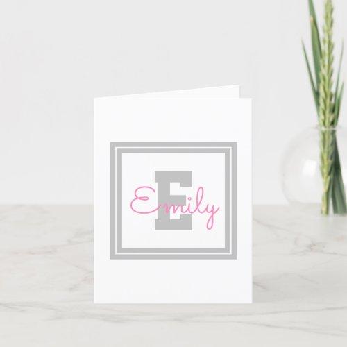 Cute Framed Name  Monogram  Light Grey  Pink Thank You Card
