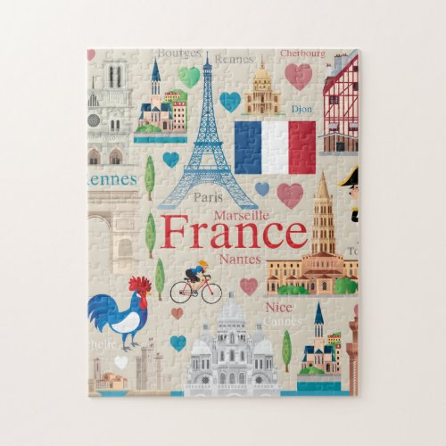 Cute France Icons Jigsaw Puzzle