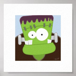 Cute Frankenstein Monster   6 x 6 Print