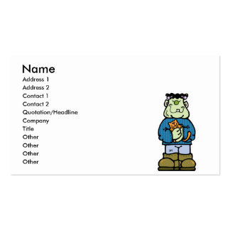 cute frankenstein monster with kitty cat business card template