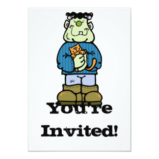 cute frankenstein monster with kitty cat 5x7 paper invitation card