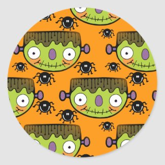 Cute Frankenstein, Spider Halloween Classic Round Sticker