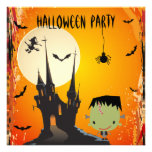 Cute Frankie & Castle Halloween Party Invites