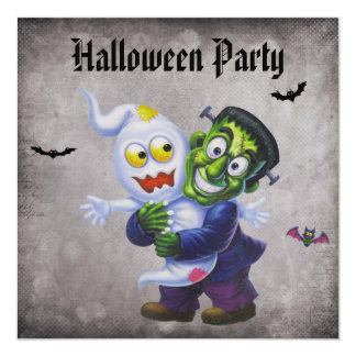 Cute Frankie & Ghost Damask Halloween Party Card