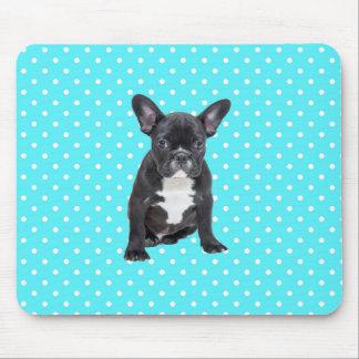 Cute French Bulldog Blue Polka Dots Mousepad