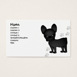 Cute French Bulldog Cartoon Black Business Card