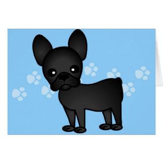 Cute French Bulldog Cartoon Black Card