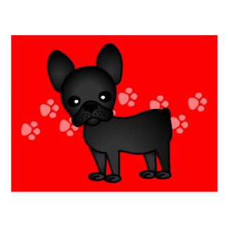 Cute French Bulldog Cartoon Black Postcard