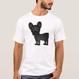 Cute French Bulldog Cartoon Black T-Shirt